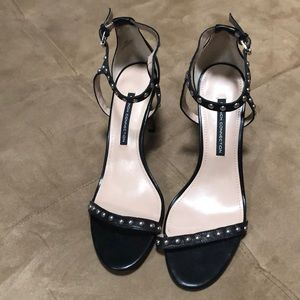 French Connection size 10 black studded heels